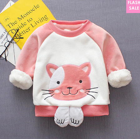 Cartoon Kitty Pattern Plush Top