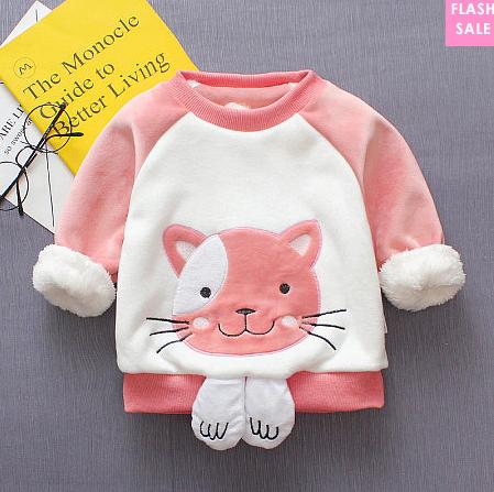 Cartoon Kitty Pattern Plush Top